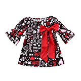 Baby Girl Cotton Dress Infant Long Sleeve Ruffle Dresses Holiday Dress for Baby Girl (18-24 Months)