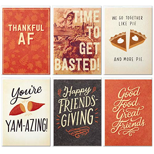 Hallmark Studio Ink Friendsgiving or Thanksgiving Card Assortment (6 Cards with Envelopes)