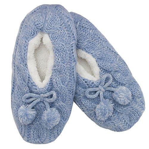 Foxbury Cable Knit Plush Lined Slipper Socks Pumps Blue AUWuHsv