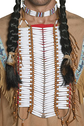 Indian Costumes Man (Smiffy's Adult Unisex Native American Indian Breastplate, White, Beaded, One Size, 36177)