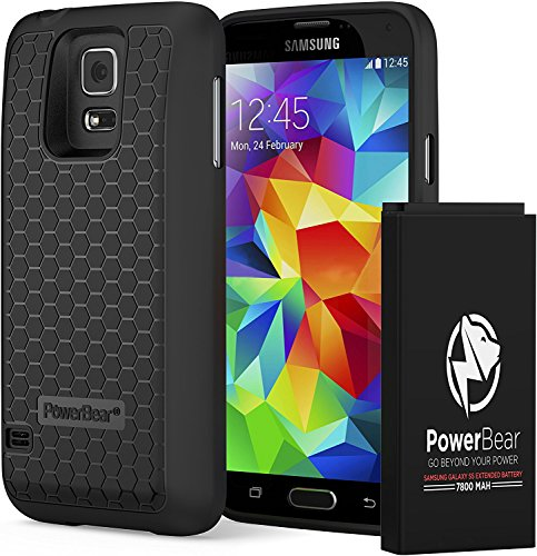 PowerBear Samsung Galaxy S5 Extended Battery [7800mAh] & Back Cover & Protective Case (Up to 2.75X Extra Battery Power) - Black [24 Month Warranty & Screen Protector (Bigger Bears)