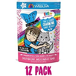 B.F.F. Omg - Best Feline Friend Oh My Gravy!, Tuna & Chicken Charm Me With Tuna & Chicken In Gravy Cat Food By Weruva, 3Oz Pouch (Pack Of 12)