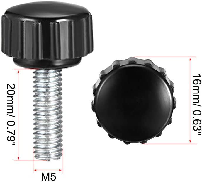 uxcell M5 x 16mm Male Thread Knurled Clamping Knobs Grip Thumb Screw on Type 5 Pcs