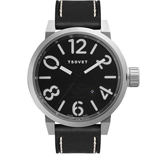 TSOVET Swiss LX110110-01 Men's Black Dial Stainless Steel Field Watch