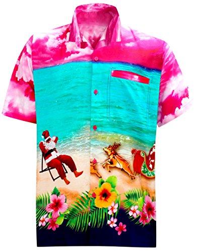 LA LEELA Mens Casual Button Down Short Sleeve Christmas Hawaiian Shirt Pink