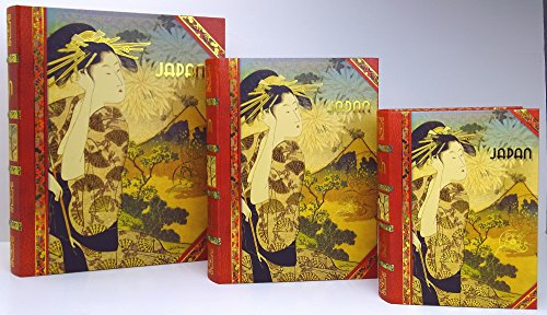 3 Pc Punch Studio Large Nesting Book Box Storage Organizer Set, JAPAN Kimono Geisha Mount - Studio Book Punch