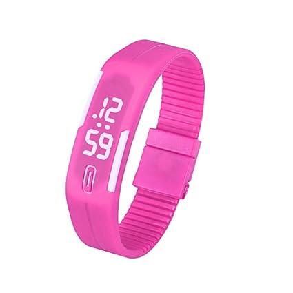 Xinantime Relojes Pulsera Mujer Hombres,Xinan Caucho LED Reloj Deportivo Digital (Rosa)