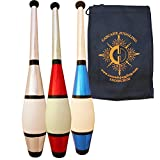 3 x Juggle Dream Euro Clubs - Red/ Blue/ Silver - Great Beginner to Intermediate Juggling Clubs with Cascade Juggling Bag