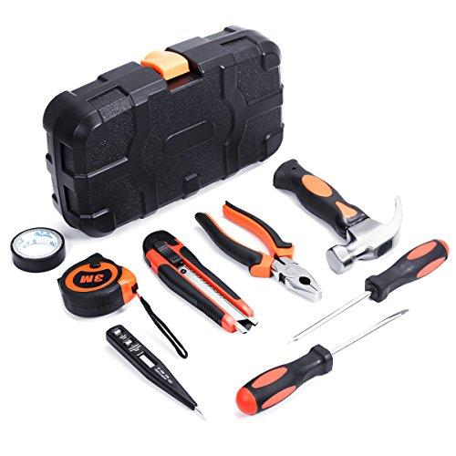 Tool Set, Baban 9Pcs Tool Set Kit Home Repairing Multi-functional Universal Precision Screwdriver Hammer Set Hardware Tool Set Kit Household Hand Tool Kit with PlasticToolbox Black (Screwdriver Tool Universal)