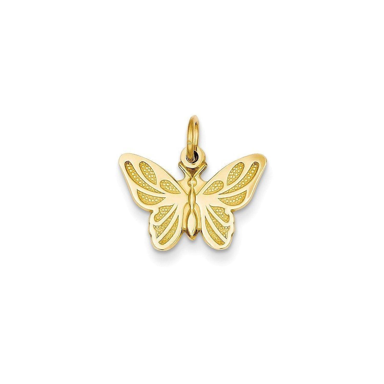 14k Gold Butterfly Charm Pendant (0.63 in x 0.65 in)