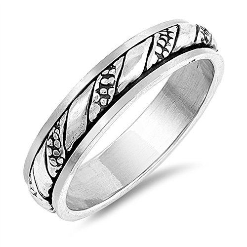 Twist Spinner Bali Knot Boho Bead Ring New .925 Sterling Silver Band Size (Sterling Shiny Twist Bead)