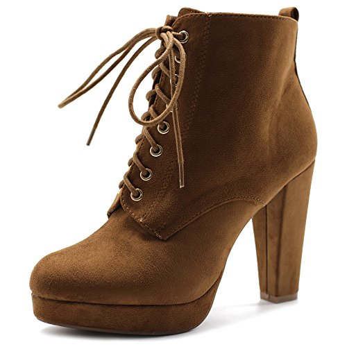 Tan Shoe Ollio up Booties Ankle Lace Suede Faux Platfrom Heel Women's Chunky Ffqw1U