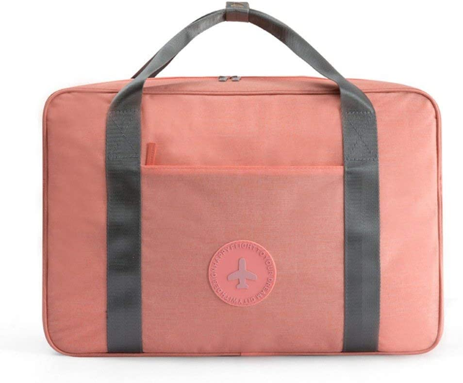 LOMAO Travel Duffel Bag Waterproof Portable Luggage Bag for Business in Trolley Handle Orange Pink