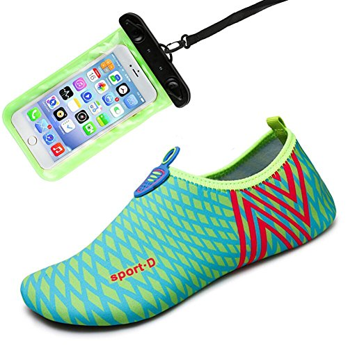 Womens and Mens Water Shoes Barefoot Quick-Dry Aqua Socks for Beach Swim Surf Yoga Exercise(Lake blue/Stripe) from Auken