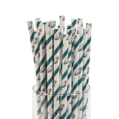 Fun Express - Nfl Philadelphia Eagles Paper Straws for Party - Party Supplies - Licensed Tableware - Misc Licensed Tableware - Party - 24 Pieces
