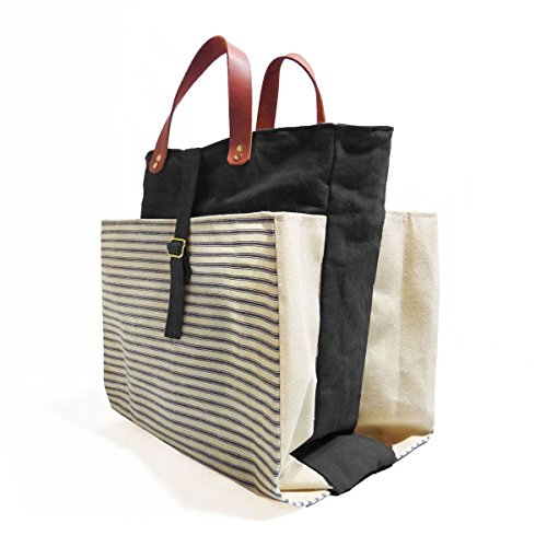Expandable Pop Market Tote, Infantry Stripe by Velvet Lapin