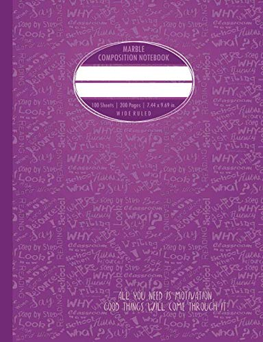 Marble Composition Notebook: 200 Pages Numbered For Students. Cute Purple Words Pattern!