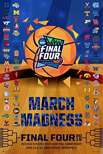 Pro Graphs 2019 Official NCAA Final Four March Madness Basketball Team Logos Print Poster