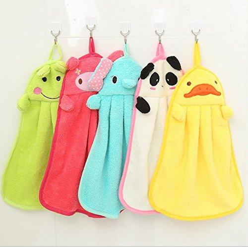 JM-capricorns 5pcs Cute Animal Microfiber Kids Children Cartoon Absorbent Hand Dry Towel Lovely Towel For Kitchen Bathroom Use