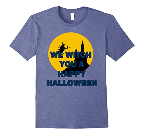 Mens We Witch You a Happy Halloween T-shirt Wicked Witchcraft Large Heather (T Shirt Halloween Femme)