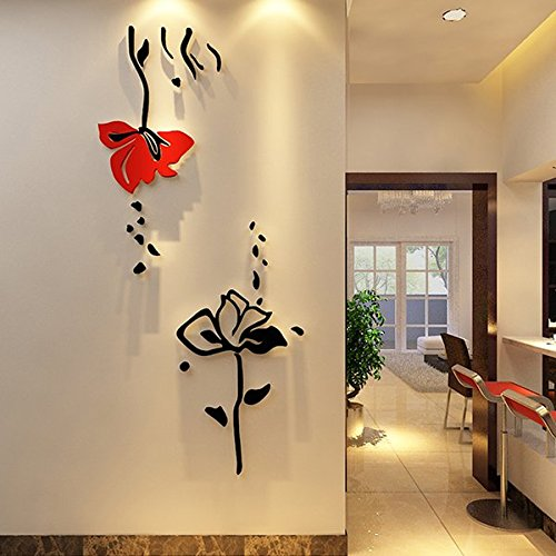 Ammybeddings 3D Red and Black Roses Flower Wall Stickers,Wall Decal,75*161cm(30*63in),Acrylic (75*161cm(30*63in)-12000328)