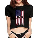 Wrestling American Flag Summer Womens Sexy Revealed Navel T-Shirts Custom Short-Sleeved Navel Blouse Tops T Shirt