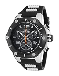 Invicta Men's 'Speedway' Swiss Quartz Stainless Steel and Polyurethane Casual Watch, Color: Black (Model: 19526)
