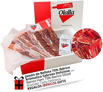 Estuche Jamon Iberico de Bellota 75% Raza Iberica - 10 Sobres Loncheados de 100 gr de Jamon Iberico Cortado a mano y Envasados al Vacio - Embutidos y Regalos Ibericos de Bellota - 1 kg