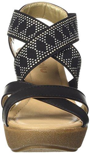 Inblu VP000014, Sandalias de Cuña Mujer Negro
