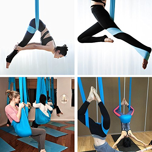 Aerial Yoga Swing, NACATIN Ultra Strong Antigravity Yoga Hammock with 210T Parachute Fabric and Padded Foam Handles for Air Yoga Inversion Exercises (Lake blue)