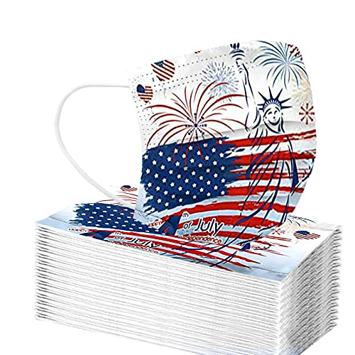 【USA In Stock 】Patriotic Disposable Face_masks for Adults Independence Day American Flag Printed Red White and Blue 4th of July Paper Face_mask with Designs for Women Colored 3ply