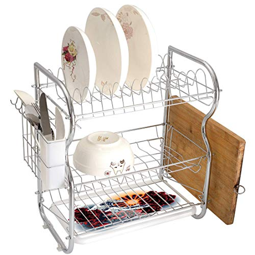 Stainless Steel 3-Tier Dish Drainer Rack Tattoo Decor Kitchen Drying Drip Tray Cutlery Holder Brave Native American Warrior Chief of Tribe with Noble White Horse Print,Black and White,Storage Space Sa