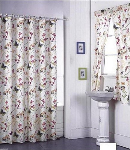 Butterfly Design Shower Curtain and Window Set w/ Liner+Rings NEW (Shower Curtains Window Curtains)