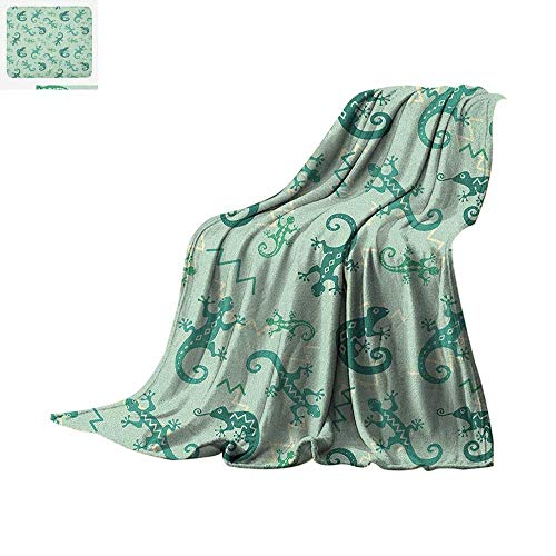 Reptile Throw Blanket African Exotic Lizards Chameleons Leaping Illustration Nature Reptiles Kids Nursery Warm Microfiber All Season Blanket for Bed or Couch 90