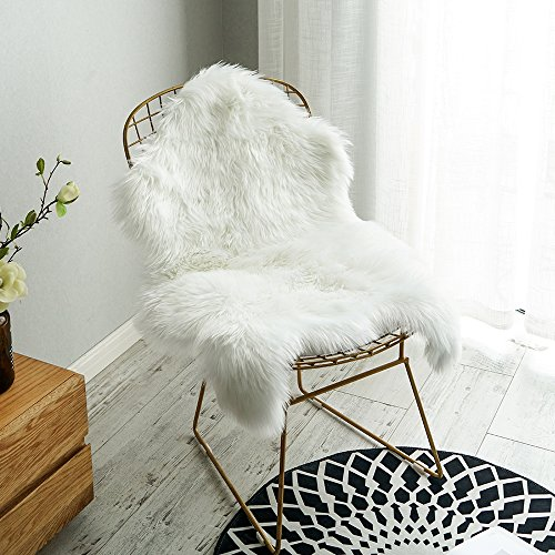 Wool Chair Pads - Carvapet Luxury Soft Faux Sheepskin Fur Seat Cushion Chair Cover Pad Plush Lambskin Form Area Rugs for Livingroom Bedroom, 2ft x 3ft, White