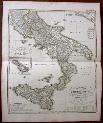 Sicily Italy Malta Gozzo Sicilia 1853 very detailed uncommon antique map Stieler