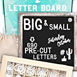 Felt Letter Board 10x10 | +690 PRE-Cut Letters +Stand +Upgraded Wooden Sorting Tray | Black Rustic Farmhouse Letterboard with Cursive Words, Letter Boards, Word Board, Message Board, Changeable Sign (Color: Black (Rustic), Tamaño: 10x10)