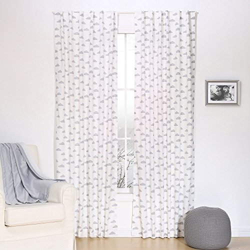 Grey Cloud Print Blackout Window Drapery Panels – Two 84 by 42 Inch Panels