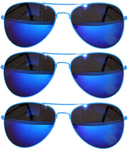 3 Pairs Classic Aviator Sunglasses Full Mirror Lens Metal Frame Blue - Colorfull Sunglasses