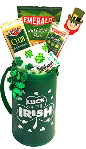 St Patricks Day Beer Mug Or Wine Glass Gift Set with Lucky Irish Snacks For Your Mischievous Leprechaun & Irish Princess (Freezer Mug Snack Set - Luck of the Irish) (Beer Jalapeno)