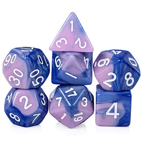 Polyhedral DND Dice Set, 7PCS Acrylic Gaming Dice with Free Pounch for Dungeons and Dragons D&D RPG MTG Table Games (Blue and Pink)