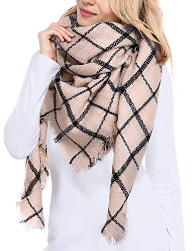 Bess Bridal Women's Plaid Blanket Winter Scarf Warm Cozy Tartan Wrap Oversized Shawl Cape (One Size, Beige)