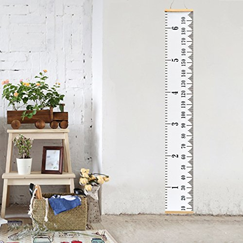 Measuring Chart (Vermogen Hanging Ruler Height Growth Chart for Baby Kids Adolescents and Adults Roll-Up Height Measure Chart 7.9'' ×78.7'' Wall Decoration Growth Ruler Gift)