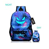 JUICE Pokemon Pattern School Backpack Fluorescence Printed with Cool Design (Galaxy)