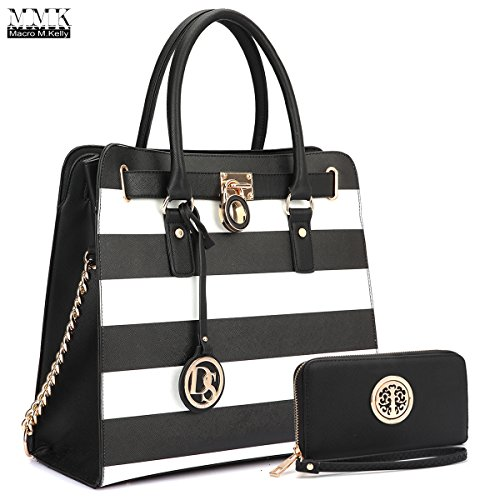 Image of MMK collection Women Fashion Matching Satchel handbags with walle(6417)t~Designer Purse with Wristlet Wallet (MA-02-2553-BLACK/WHITE/BLACK)