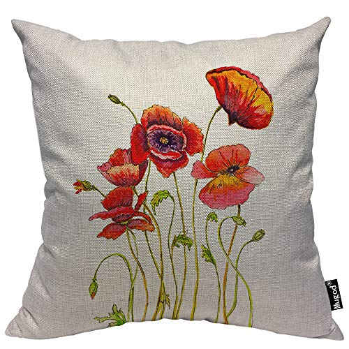 Mugod Poppies Pillow Cover Watercolor Poppy Flower Floral Stem Nature Orange Red Green Decorative Throw Pillow Cases Cotton Linen Indoor Square Cushion Covers 18x18 Inch for Home Sofa Couch