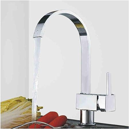 Kitchen Sink Mixer Tap Single Lever Swivel Spout Chrome Brass Square #New
