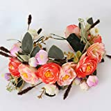 New Elegant Rose Flower Crown for Women and Girl Kids Head Wreath Bridal Headpiece Hair Accessories Wedding Party Orange and Pink