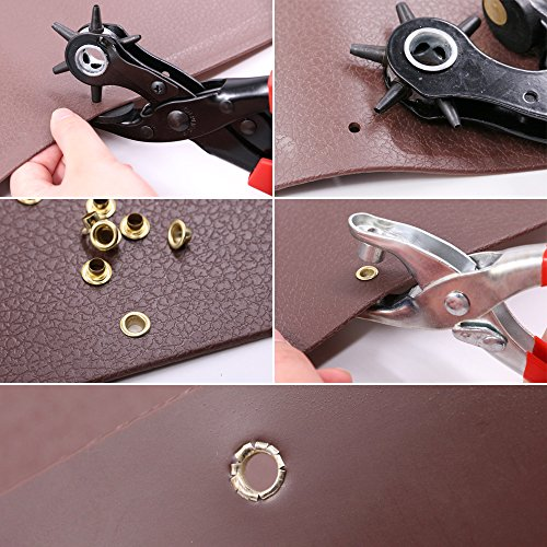 Glarks Heavy Duty Adjustable Metal Hole Punch Pliers Revolving Leather Belt Hole Punch with Eyelet Pliers Tool Kit for Belt, Watch Bands, Saddle, Shoes, Crafts by Glarks (Image #4)