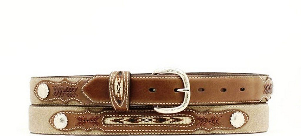 Nocona Boy's Fabric Insert Belt, Medium Brown Distressed, 22